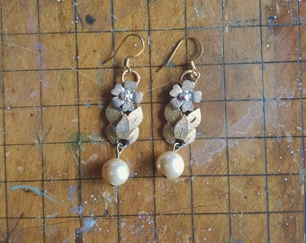 Gold and Silver Tone Dangle Flower and Leaves with Pearl