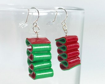 Ribbon Candy Earrings - Christmas Earrings - Red & Green Holiday Earrings - Handmade, Polymer Clay - Ready to Ship - RC186