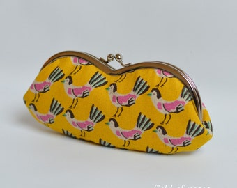 Sunglass Eyeglass Case Kawaii Birds Tweet Tweet Golden Yellow Frame Pouch Kisslock Clasp
