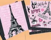 PN008 Set of 4 Paper Napkins by Epic Style ~ 5x5 Pink Black & White Eiffel Tower Paris Oh La La Bonjour Moulin Rouge