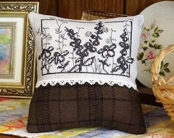 Black Wildflowers Cross Stitch PDF Pattern