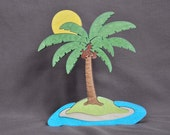 Beautiful Sunny Beach Palm Tree Puzzle Wooden Toy Decoration Hand Cut