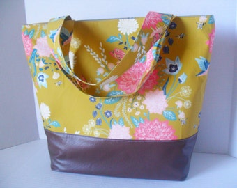 Extra Large Tote Diaper Bag - Diaper Bag - Flower Bag - Laptop Bag - Nectar Flower Diaper Bag -  Beach Bag - Washable - Vegan Leather