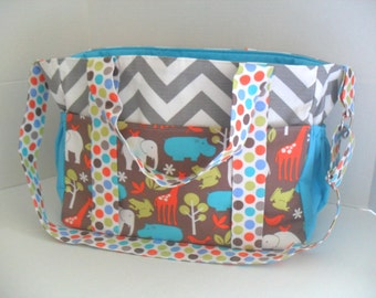 Diaper Bag - Zoologie - Extra Large Diaper Bag - Messenger Bag - Ready to Ship