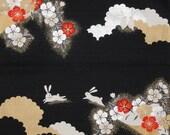Small Size Cotton 'Elegant Rabbits and Sakura' Motif Furoshiki Japanese Fabric w/Free Insured Shipping