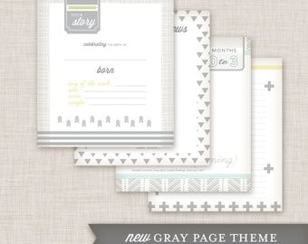 SALE Girl Baby Memory Book (9.25 x 9.5) Flower 1 Cover, Gray Pages