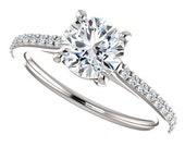evangeline ring – 1 carat forever one moissanite engagement ring