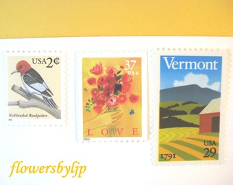 Vintage Rustic Postage Stamps, Love Vermont Red Bouquet Farm Stamp, Bird, Mail 20 Farm Wedding Invitations, 68 cents postage stamps 2 oz
