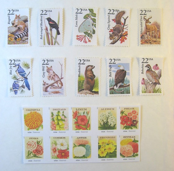 Unused Rustic Nature Postage Stamps Wildlife Vintage
