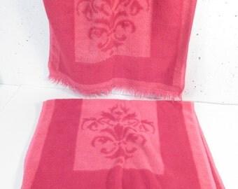 Vintage towel hand towel set, mid century modern, hot pink, hollywood regency, pink bathroom decor