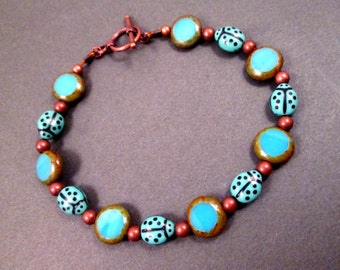 Ladybug Bracelet, Blue Picasso Glass and Copper Beaded Bracelet, FREE Shipping U.S.