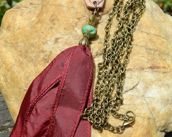 "52"" Burgundy Silk Ribbon Boho Tassel Necklace"