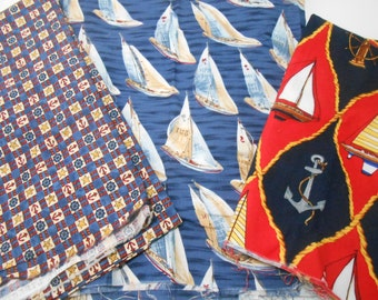 Sailboat Fabric, Quilting Cotton Sailboat 3 Pieces, Nautical Theme Fabrics
