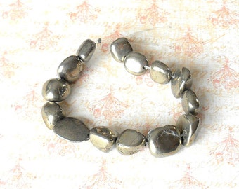 Large Freeform Pyrite Nugget Beads - gunmetal gemstone, rock, large pyrite beads, chunky pyrite, smooth pyrite, polished pyrite, fool's gold