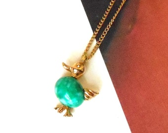 Vintage Amway 1980 Green Peking Glass & Gold Duck Necklace - Green Duck, Waddling Duck, Glass Jelly Belly, Bird Necklace, Children, Spring