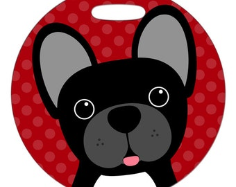 Luggage Tag - French Bulldog Black - Round Plastic Bag Tag