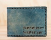 Mens Wallet - Custom Leather Bifold Wallet - Personalized with Coordinates - Find Me Here pattern in blue