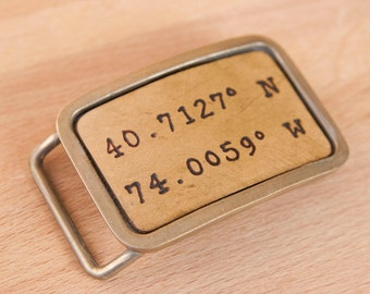 Personalized Buckle - Custom Belt Buckle with Coordinates - Leather inlay in Bronze buckle - Find Me Here pattern