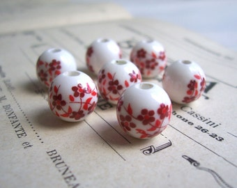 Red Blossom Ceramic Globe Beads - red and white flowers - folk style - 7 beads - 8mm