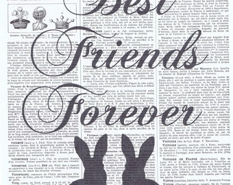 Besties.Best firends.BFF.Art print.Rabbit,bunny,repurpose book page,buy 3 get 1 free,paper ephemera,french, paris,art.nursery.gift.housewarm