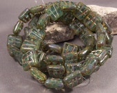 Czech Glass Beads 10 mm scratched Squares Green Opal mix with Picasso Finish (Qty 5)