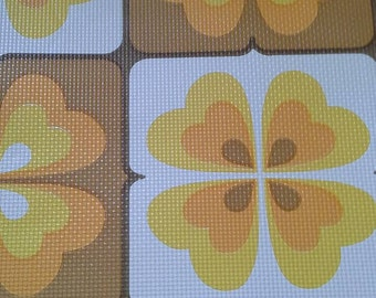 Yellow tiled vintage 70s wallpaper by the meter pop flower orange ginger basket weave texture