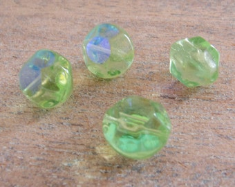 Vintage West German Translucent Lime AB Molded Facets Glass Beads - 12mmx10mm - Lot of 4
