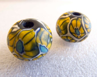 Vintage Venetian 1960s to 70s Ercole Moretti Rare Canes Large Handmade Mosaic Lampwork Glass Focal Beads - 19mmx15mm - Lot of 2