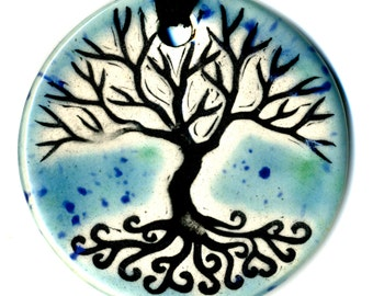 Tree Above and Below Ceramic Necklace in Blues