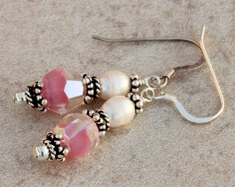 Rose Pink Rare Vintage Givre Glass Earrings, Freshwater Pearls, Sterling Silver, Gift For Her, Victorian Antique ECHA