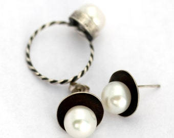 Sterling Domed Disk Post Earrings with Pearls