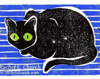 cute black cat - multi-colored blockprint
