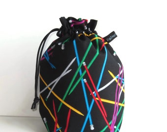 Drawstring Bag Knitting Project Padded Pouch  - Knitting Needles on black