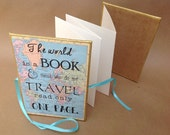 The World is a Book, Travel Accordion Album, Typography Quote, For Him or Her, Scrapbook Gift, Accordion Photo Album, St. Augustine Quote