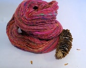 SALE Bubblegum, handspun wool, bamboo and nylon glitter yarn, 74 g/200 yds
