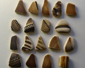 18 pieces of smooth beach pottery BPL3