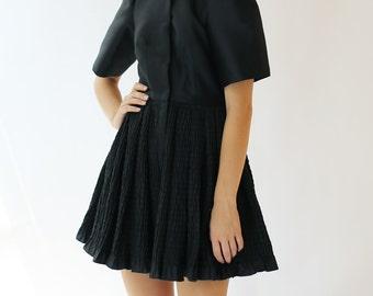 Sample SALE -  fashion forward black silk dress
