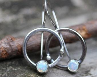 Opal sterling silver circle dangle earrings