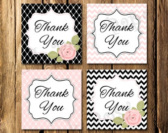 Printable Pink and Black Bridal Shower Thank You Tags - Instant Download