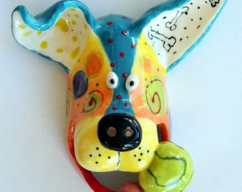 Dog Mask, Dog Face, Dog Art, Ceramic Wall Hanging, Wall Art, Dog Sculpture, Dogs, Sculpture, Tennis Ball, Animal Art, Dottie Dracos