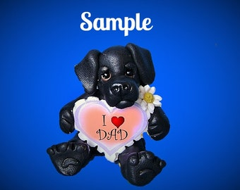 Black Lab Labrador Retriever DOG Father's Day Sculpture love DAD OOAK Clay art by Sally's Bits of Clay