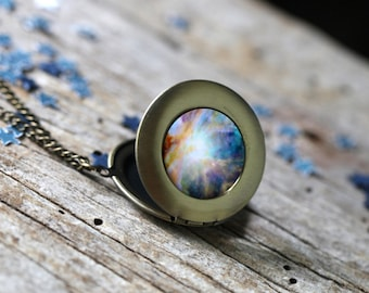 Orion Nebula Outer Space Galaxy Locket - Light Pendant Necklace - Astronomy Wedding - Unique Science Gift - Solar System - Silver or Bronze