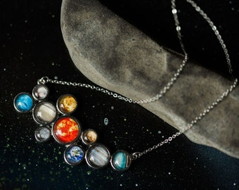 Solar System Necklace - Silver Galaxy Pendant - Nerdy Fashion Statement, Science Gift, Geek Chic, Planets, Jewellery, Galaxy Jewelry, Cosmic