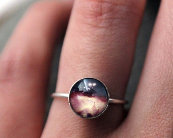 Stars in Scorpius - Nebula Sterling Silver Stacking Ring - Galaxy Space Jewelry Customized - Cosmos Outer Space Nebulas - Cosmic Stars