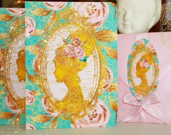 Marie Antoinette Roses Metallic Gold Silhouette Cards for Thank You, Wedding, Shower, Bachelorette, Tea, Party, Event