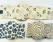 Male Dog  Belly Band Diapers Stop Marking many sizes set of 3 Flannel Dogs Paws and Leopard