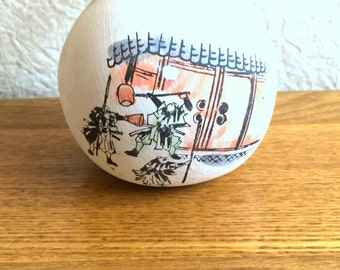 Japanese Ceramic Bell - Dorei - Suzu - Amulet - Lucky Charm - Vintage Bell - Ako Oishi Shrine in Hyogo - Migawari Omamori (B4)