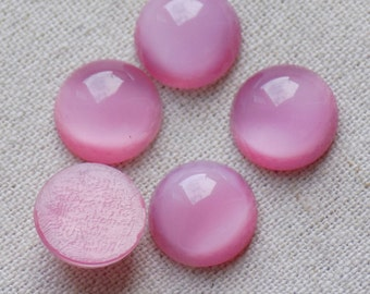 20 Vintage Glass Rose Pink Cabochons 11mm