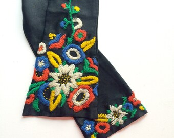 1950s Silk Scarf - Embroidered Silk Scarf