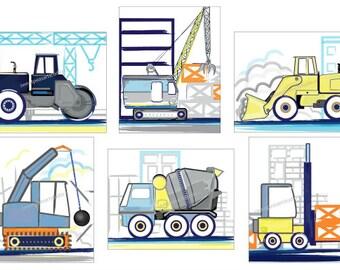 Boys Construction Art, Construction Truck Art, Boys Art Prints, Construction Wall Decor, Kids Construction Trucks Bedding Room Decor